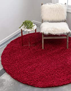 Unique Loom Solo Solid Shag Collection Modern Plush Cherry Red Round Rug (6' 0 x 6' 0)