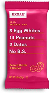 RXBAR, Peanut Butter & Berries, Protein Bar, 1.83 Ounce (Pack of 24), High Protein Snack, Gluten Free