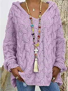 PKYGXZ Suéter de Mujer Color sólido Sudadera con Capucha de Punto retorcido Moda Gruesa cálida Sudadera con Capucha Tops J...