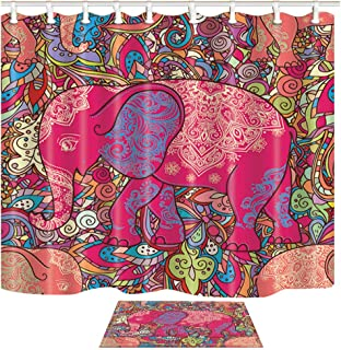 ChuaMi Elephant Shower Curtain Set, Africa Tropical Forest Animal, Red Geometric Picture, Waterproof Bathroom Decor Design Polyester Fabric 69 x 70 Inches with Hooks and Anti-Slip 40 x 60cm Bath Mat