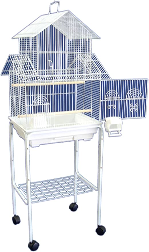 Amazon Com Yml 5844 3 8 Bar Spacing Pagoda Bird Cage With Stand 18 X 14 Small White Pet Care Products Pet Supplies