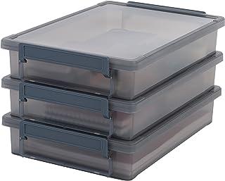Iris Ohyama, set - 3 boîtes de rangement pour document - Little Large Box - LLB-A4, plastique, gris, 4 L, 36,5 x 25 x 7 cm