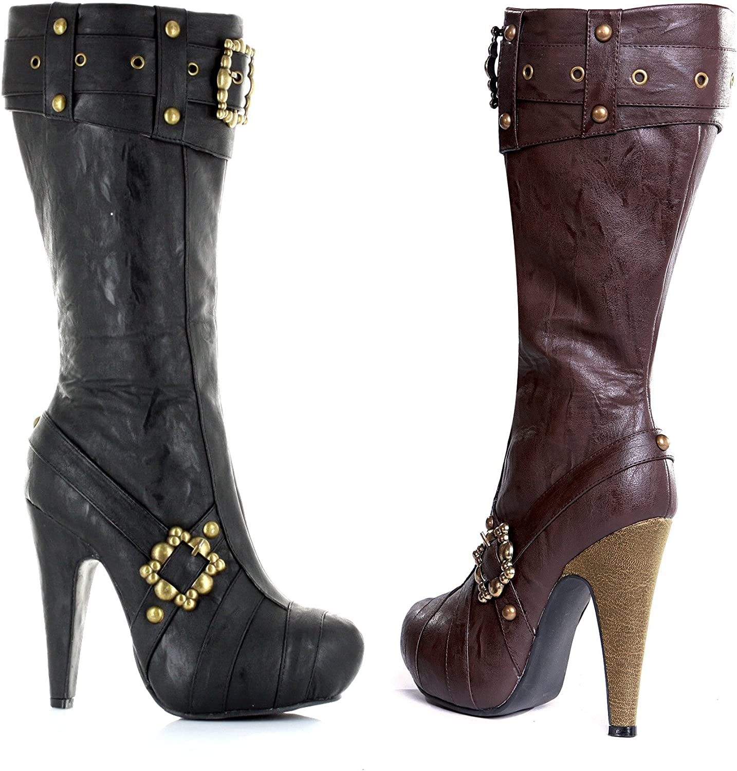 ELLIE 426-AUBREY 4  Knee High Steampunk Boots With Buckles And Studs Women