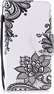 Cfrau Leather Case with Black Stylus for iPhone Xs Max,Cute Design Magnetic Wallet Flip PU Leather Card Slots Kickstand Hand Strap with Soft TPU Case for iPhone Xs Max 6.5 inch - Black Lace Flower