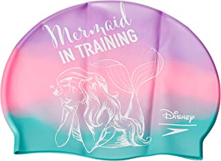 Speedo Unisex's Disney Slogan Print Cap Little Swimming, Purple/Green Mermaid Prin, One Size