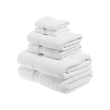 SUPERIOR Egyptian Cotton Solid Towel Set, 6PC, White