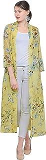Women Lemon Floral Longline 3/4th Sleeve Shrug