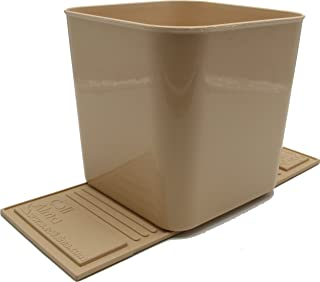 Auto Car Vehicle Garbage Can Trash Bin Waste Container Quality Plastic Large, 1 Gallon, 4 Liter (Tan)