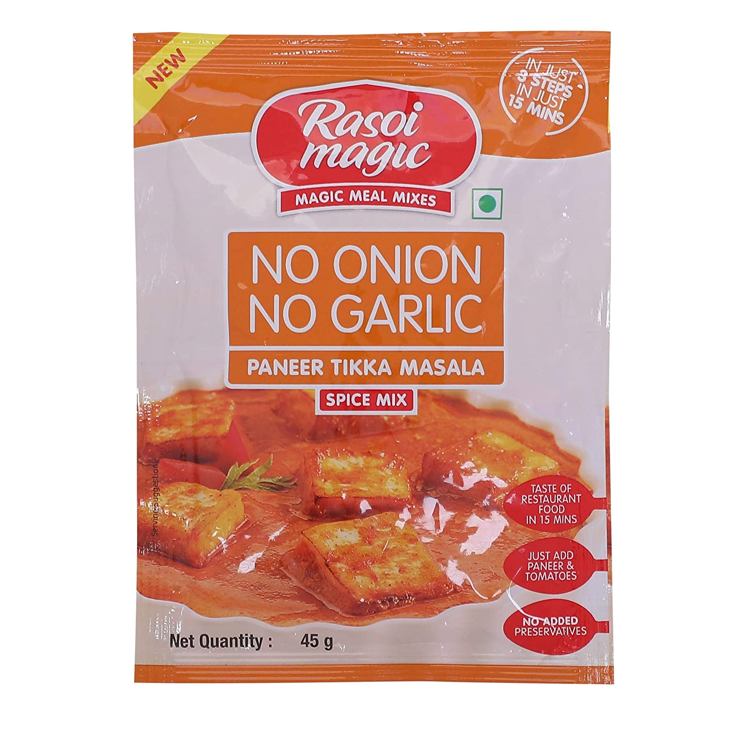 RASOI MAGIC NO ONION GARLIC TIKKA Our shop OFFers the best service PANEER 45GM Directly managed store MASALA