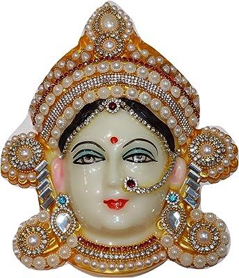 Reliable Polyfibre Goddess Mata Maha Lakshmi (Laxmi) Devi Ma Face/Santoshi Maa Mukhota/Margashirsha Laxmi Face For Puja/Varalakshmi Vrath Puja