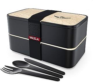 VALELA Lunchbox -Praktische Bento Box für den Transport von Mahlzeiten - Design Brotdose für die Schule und Arbeit für Kinder & Erwachsene - 3 teiligem Besteck E-Book