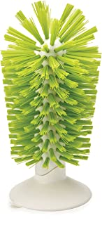 Joseph Joseph 85103 Brush-Up Glass Brush with Suction Cup Upright Stays in Sink Bristle Scrub Kitchen Bottle Cleaning Washing, Green