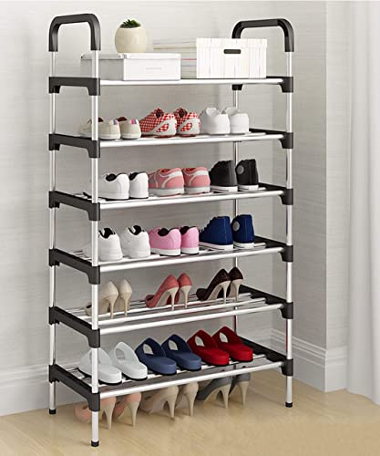 MemeHo Shoe Rack Organizer Metal Standing Shoe Rack Shoe Cabinet Stand Shoe case for Home Furniture Color Black 6 Shelf