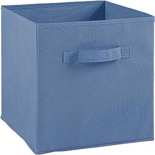 Compo Boîte de Rangement Tiroir avec Poignée en Tissu Bleu Clair 27 x 27 x 28 cm