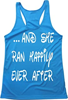Quick Dry - Running Tank TOP - and SHE Ran Happily Ever After - Run Disney Inspired - Light Weight - Moisture Wicking