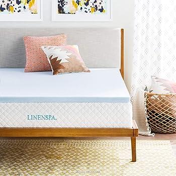LINENSPA 2 Inch Gel Infused RV Queen Memory Foam Mattress Topper, Blue