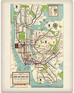 New York Subway Map 1948-11×14 Unframed Art Print – Great Vintage Home Decor Under $15
