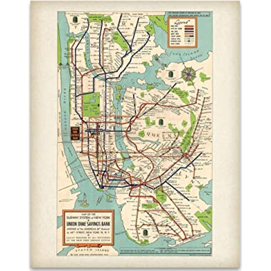 New York Subway Map 1948-11x14 Unframed Art Print - Great Vintage Home Decor Under $15