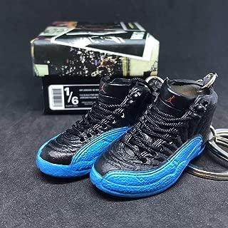 Pair Air Jordan XII 12 Retro Gamma Blue Black OG Sneakers Shoes 3D Keychain 1:6 Figure + Shoe Box