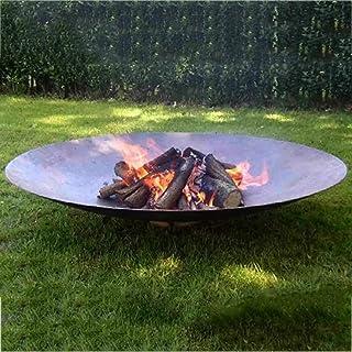 露台大型篝火晚会,超大圆形火坑,户外取暖器火盆木材燃烧,重型金属壁炉用于木炭燃烧,31inch (80cm)
