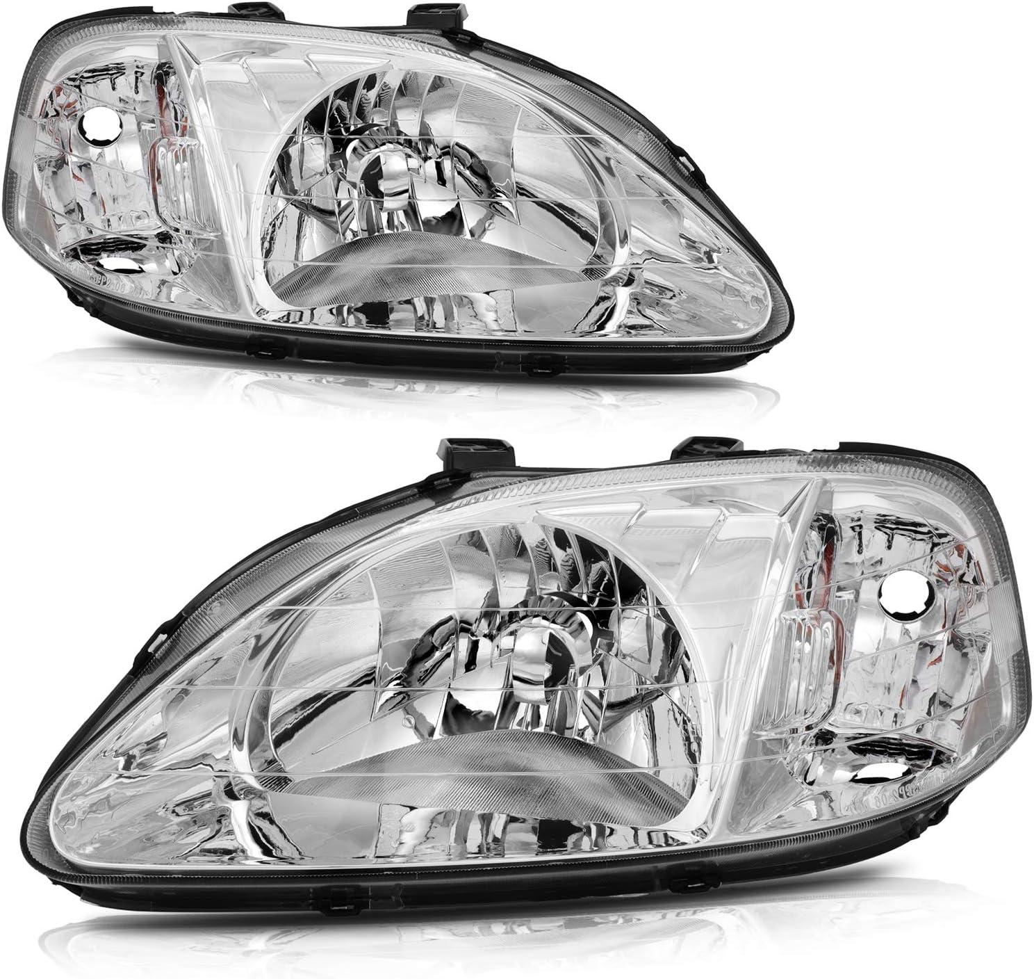 LBRST Headlight Assembly Fit For Civic Chrome High Virginia Beach Mall order 1999-2000 Ho Honda