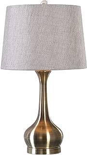 Mid Century Modern Spun Brass Metal Table Lamp   Curved Gourd Shape Retro