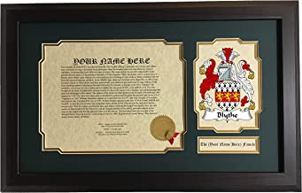 Blythe - Coat of Arms and Last Name History, 14x22 Inches Matted and Framed