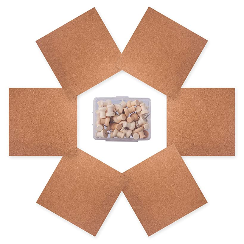 Wall Cork Tiles, OUSL 6 Pack 12x12'' Mini Square Thick Wall Bulletin Board, Self-Adhesive Natural Frameless Corkboard with Bonus Push Pins Office Home Decorative