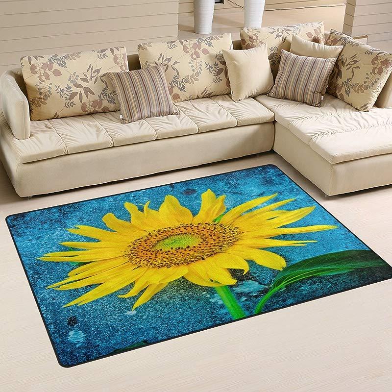 WOZO Watercolor Blue Sunflower Flower Area Rug Rugs Non Slip Floor Mat Doormats Living Room Bedroom 60 X 39 Inches