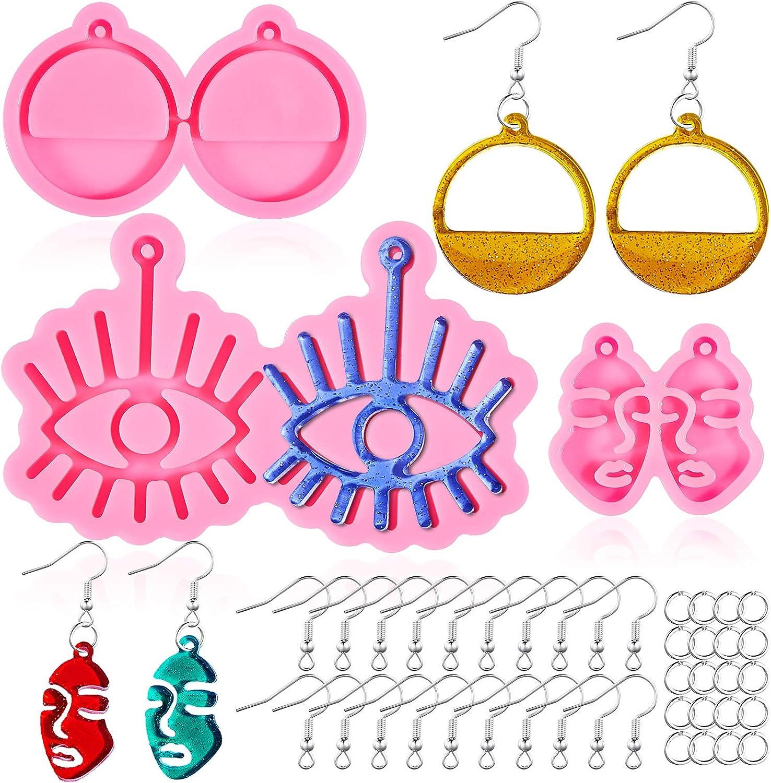 3 Pieces Earring Resin Molds Eye Max 57% OFF Girl DIY Cir Face Free shipping / New