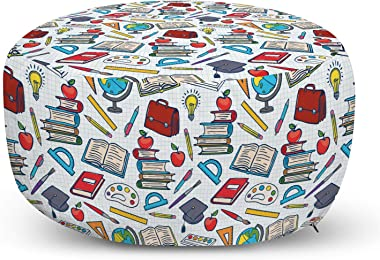 Ambesonne School Pouf Cover with Zipper, Elementary School Theme Student Supplies Globe Paints and Brushes Books Education, S