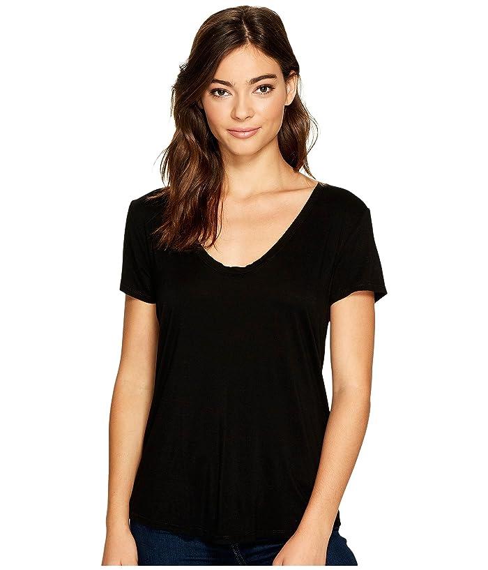Splendid  Sloane Short Sleeve Rayon Jersey Scoop Neck Tee (Black) Womens Clothing