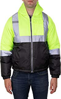 Arctic Quest Mens Lightweight Full Zip High Visibility Hoodie Jacket with Reflective Detail Safety Yellow