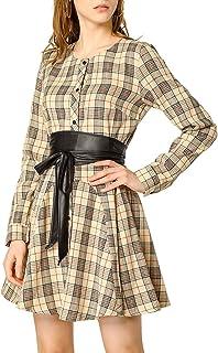 Allegra K Vestido Acampanado De Cuadros Mangas Largas con Cinturón Vestido Mini Camisero para Mujer