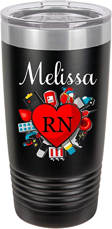 Medical Nurse RN LPN CNA CMA Heart Personalized 20 Oz Insulated Travel Tumbler