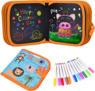 Erasable Drawing Pad Toys, Portable Drawing Board Book Double-Sided Reuse PP Writing Board 12 Colored 14 Pages Boys Girls ...