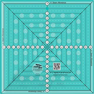 Creative Grids 9-1/2in Square It Up or Fussy Cut Square Quilt Ruler