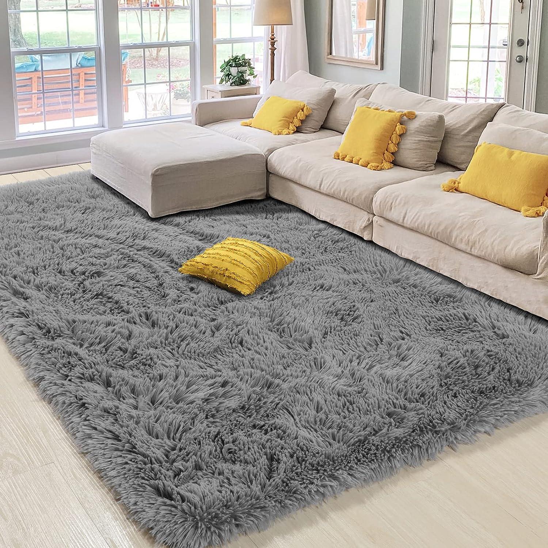 Amangel Grey Ultra Soft Fluffy Area Rug Max Ranking TOP15 54% OFF 8.4' Shag 6' x R Large
