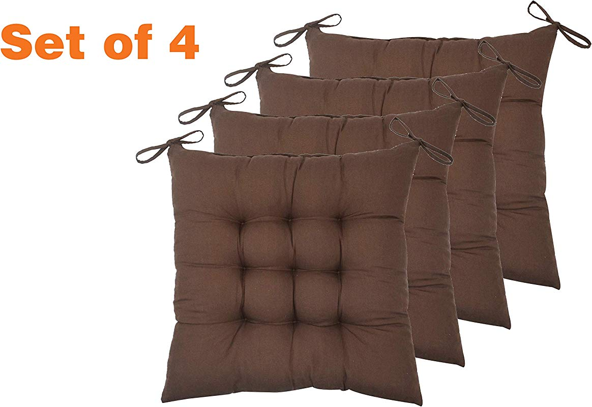 ELFJOY Set Of 4 Solid Square 16 X 16 Tufted Chair Pads Indoor Seat Cushions Pillows With Ties Coffee