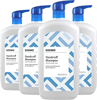 Amazon Brand - Solimo Dandruff Shampoo, Everyday Use, 33.8 Fluid Ounce (Pack of 4)