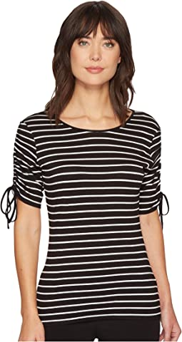 Drawstring Sleeve Linear Step Stripe Top