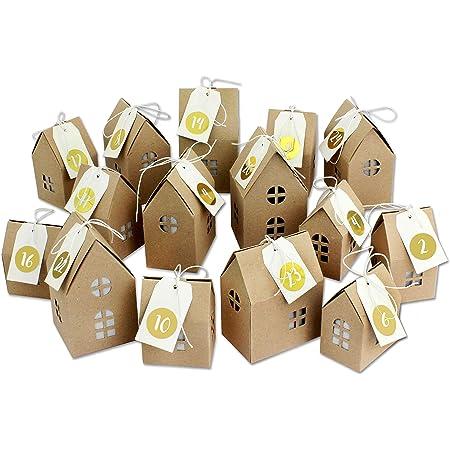 FORMIZON 24 Adventskalender Set DIY Adventskalender Kisten Set Adventskalender Pappschachteln mit 24 weihnachtlichen Zahlenaufklebern f/ür den Adventskalender zum Basteln und Bef/üllen