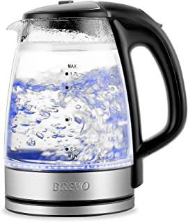 BREVO Double Wall Cordless Electric Glass Kettle with LED Blue Light, 1.7 Liter Capacity 1500 Watt, Fast Boiling, Auto Shutoff, Boil-Dry Protection