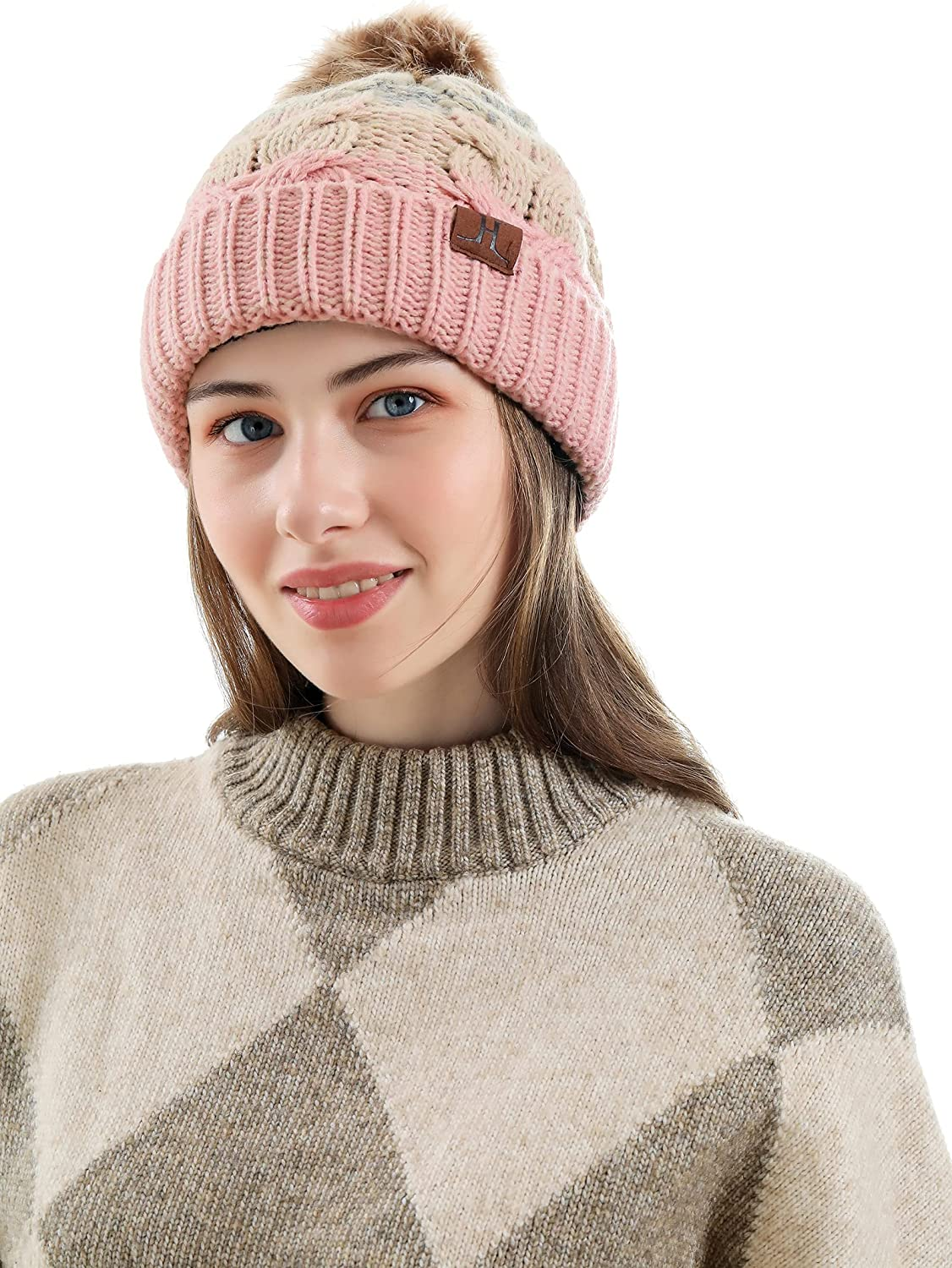JTJFIT Winter Knitted Beanie Hat Cozy Warm Fleece Lined Ribbed Pom Cap for Women