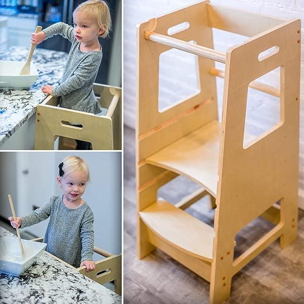 KidzWerks Child Standing Tower Child Kitchen Step Stool With Adjustable Standing Platform Wooden Montessori Standing Tower Kid S Step Stool
