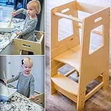 KidzWerks Child Standing Tower - Child Kitchen Step Stool with Adjustable Standing Platform - Wooden Montessori Standing Tower - Kid's Step Stool