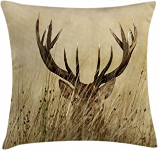 Antler Decor Throw Pillow Cushion Cover Whitetail Deer Fawn in Wilderness Stag Countryside Rural Hunting Theme Decorative ...