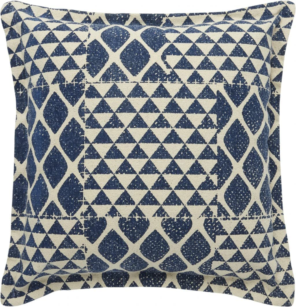 HomeRoots 100% Cotton At the price Indigo and Throw Pillow Patchwork 25% OFF Beige