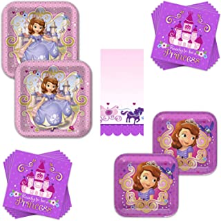 Sofia The First Dinnerware Bundle - Serves 16 Guests - Birthday Party Kit Includes Paper Plates, Napkins & Table Cover