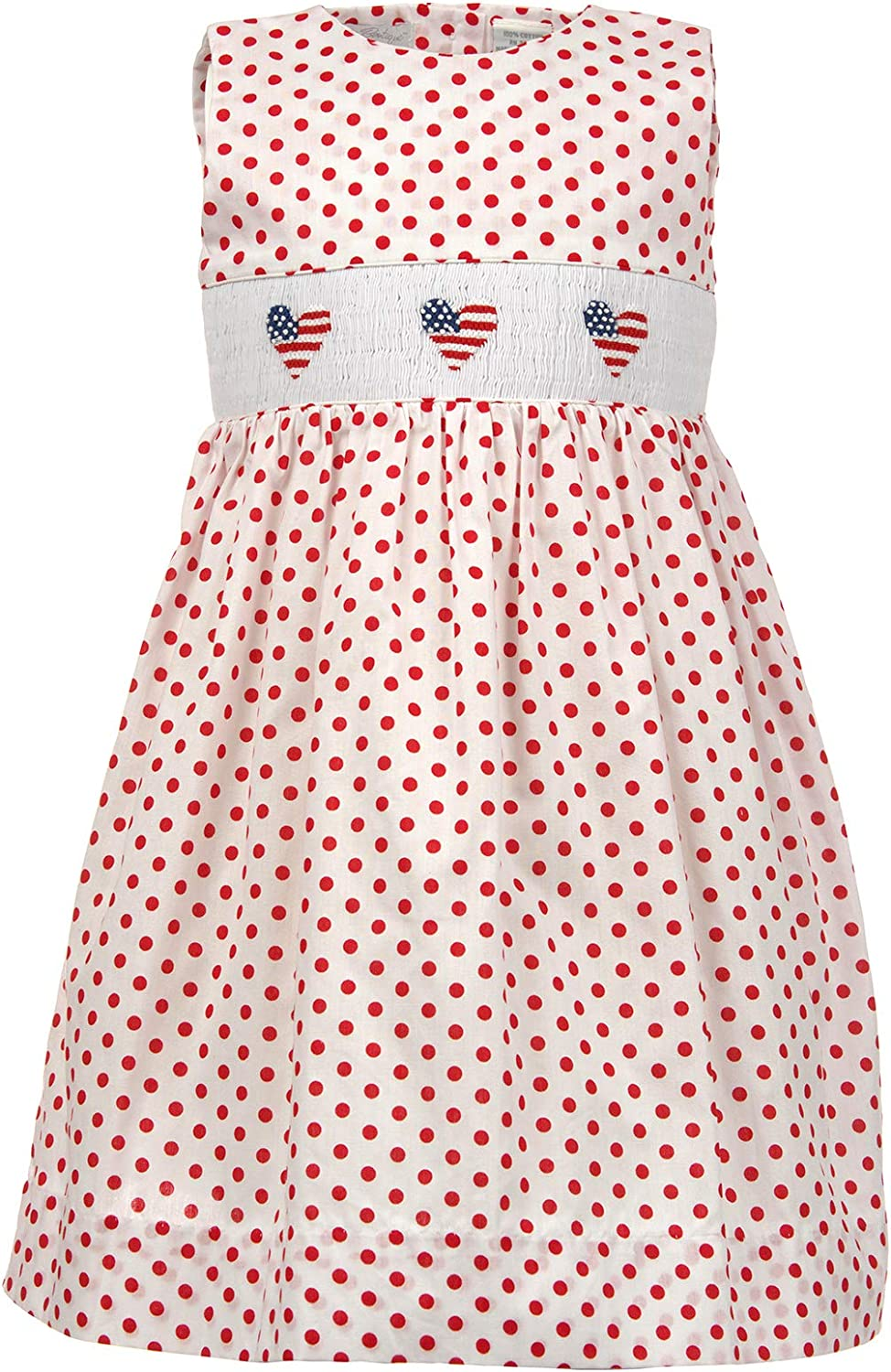 Girls Dress Smocked American Flag Hearts on Red and White Polka Dot Dress
